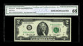 Error Notes:Mismatched Prefix Letters, Fr. 1935-B $2 1976 Federal Reserve Note. CGA Gem Uncirculated 66..The serial number of this note is very close to the other...