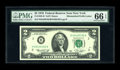 Error Notes:Mismatched Prefix Letters, Fr. 1935-B $2 1976 Federal Reserve Note. PMG Gem Uncirculated 66EPQ.. Solid margins frame this popular mismatched prefix is...