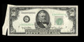 Error Notes:Foldovers, Fr. 2107-G $50 1950 Federal Reserve Note. Choice CrispUncirculated.. This is a neat cut and fold error on a toughdenominat...