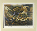 """Boxing Collectibles:Autographs, 1970s """"Sports Illustrated"""" Signed Boxing Print (Jack Dempsey vs.Gene Tunney). #130/1500. Colored artist rendition of both ..."""