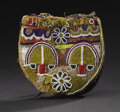 African: , Yoruba (Nigeria). Diviner's Beaded bag, Apo Ifa. Leather,cloth, beads. Height: 9 inches Width: 8 ¾ inches. The bag f...