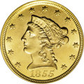 Liberty Quarter Eagles: , 1855 $2 1/2 MS64 PCGS. While relatively available in the lowergrades of Uncirculated (for a quarter eagle from the 1850s),...