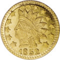 California Fractional Gold: , 1852 50C Indian Round 50 Cents, BG-1075, R.7, MS65 PCGS. Althoughundesignated as such on the PCGS insert, the present piec...