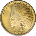 Indian Eagles: , 1908 $10 No Motto MS65 PCGS. Of the 190 No Motto Gem eaglescertified by PCGS, fully 169 of them are dated 1907. While not ...