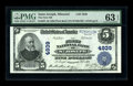 National Bank Notes:Missouri, Saint Joseph, MO - $5 1902 Plain Back Fr. 605 The First NB Ch. #4939. BEP engraved signatures adorn this $5 that receiv...