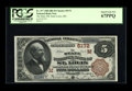 National Bank Notes:Missouri, Saint Louis, MO - $5 1882 Brown Back Fr. 477 The State NB Ch. #(M)5172. A simply spectacular $5 Brown Back with broad e...