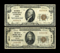 National Bank Notes:Virginia, Leesburg, VA - $10; $20 1929 Ty. 1 The Peoples NB Ch. # 3917. The$10 grades a bright Fine+. Also, a few pinholes ar... (Total: 2notes)
