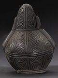 African: , Yombe (Democratic Republic of Congo). Powder Flask. Wood, patination. Height: 5 5/8 inches Width: 4 1/2 inches Depth: 4 in...