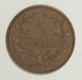 German East Africa: , German East Africa: Wilhelm II bronze 5 Heller 1909-J, KM-11, XFwith chocolate-brown surfaces....
