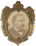 Political:Ferrotypes / Photo Badges (pre-1896), Grover Cleveland: A Fine, Larger Size Cardboard Portrait Pin. ...