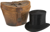 William McKinley: Beaver Top Hat with Leather Traveling Case. The top hat and the frock coat were articles of clothin