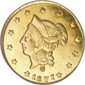 California Fractional Gold, 1871 $1 Liberty Round 1 Dollar, BG-1204, High R.5, MS64 Deep MirrorProoflike NGC. CAC....