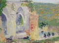 American:Impressionism, Attributed to ERNEST LAWSON (American 1873-1939). Aqueduct withFigures Bathing. Oil on artist's board. 7 x 10 inches (1...