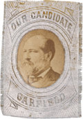 "Political:Ferrotypes / Photo Badges (pre-1896), James A. Garfield: ""Our Candidate"" Albumen on Silvered Fabric ..."