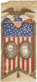 Political:Ribbons & Badges, Hayes & Wheeler: Printed Portrait Ribbon ...