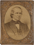 Political:Ferrotypes / Photo Badges (pre-1896), Andrew Johnson Pin-Back Campaign Photo Badge...