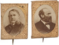 "Political:Ferrotypes / Photo Badges (pre-1896), Garfield & Arthur: Matching Pin-Back Campaign Photo Badges,.75"" x 1"". Albumen cardboard or paper photos in ""gem"" sized ...(Total: 2 Items)"