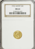 Commemorative Gold: , 1922 G$1 Grant no Star MS63 NGC. PCGS Population (288/1439).Mintage: 5,000. Numismedia Wsl. Price for N...