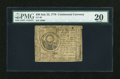 Colonial Notes:Continental Congress Issues, Continental Currency July 22, 1776 $30 PMG Very Fine 20....
