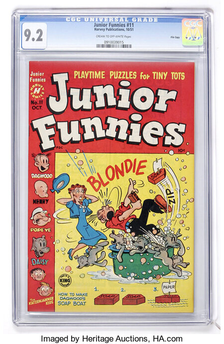 Junior Funnies #11 File Copy (Harvey, 1951) CGC NM- 9.2 Cream to off-white pages....