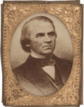 "Political:Ferrotypes / Photo Badges (pre-1896), Andrew Johnson: Pin-Back Campaign Photo Badge, .75"" x 1"". Albumencardboard or paper photos in ""gem"" sized brass shell frame..."