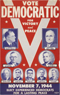 Political:Posters & Broadsides (1896-present), Roosevelt & Truman: A Colorful 1944 Cardboard Coat-Tail Poster....