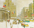 Fine Art - Painting, American:Contemporary   (1950 to present)  , GUY CARLETON WIGGINS (American, 1883-1962). New York City Library, Winter, 1957. Oil on canvas. 20 x 24 inches (50.8 x 6...