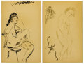 Fine Art - Painting, American:Modern  (1900 1949)  , 20TH CENTURY SCHOOL. Seated Nude, Standing Nude Study (twodrawings). Pen and ink on paper. 12-1/2 x 8 inches (31.8 x 20...(Total: 2 Items)
