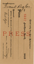 General Historic Events:World Fairs, World's Columbian Exposition: Press Pass,...