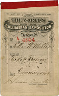General Historic Events:World Fairs, World's Columbian Exposition: Complete Book of Thirty-One Ticketsfor May 1893....