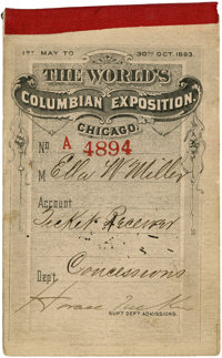 World's Columbian Exposition: Complete Book of Thirty-One Tickets for May 1893
