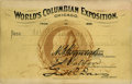 General Historic Events:World Fairs, World's Columbian Exposition: Extremely Rare Pass Featuring Profileof Columbus....