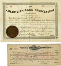 World's Columbian Exposition: Two Documents Related to Louis E. Jones, Shareholder of the WCE, including: