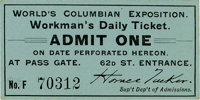 World's Columbian Exposition: Workman's Daily Ticket