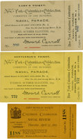 General Historic Events:World Fairs, World's Columbian Exposition: Three New York Naval ParadeTickets,... (Total: 3 Items)