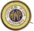 """Political:Miscellaneous Political, Woman's Suffrage: National Women's Party Pin. This beautiful ½"""" purple, white, and gold enamel was made for Alice Paul's Nat..."""