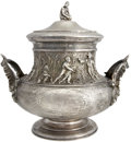 Antiques:Black Americana, A Magnificent Sterling Silver Piece with Slavery Subject Matter. Amassive lidded vessel weighing several pounds, made in Fr...