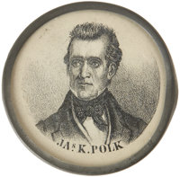 """Polk & Dallas: An Extremely Rare """"Pewter Rim"""" Picturing the Two 1844 Democratic Running Mates. An excellen..."""