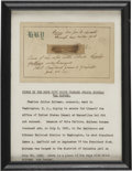 "Political:Presidential Relics, [James A. Garfield] Charles Guiteau: A Piece from the Rope Which Hanged Garfield's Assassin. A 1.5"" fragment, mounted to wha..."