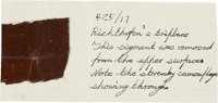 Baron Von Richthofen: A Small Oilcloth Swatch Reputedly from His Tri-Plane. Mounted on what is clearly a vintage note