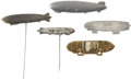 Transportation:Aviation, Zeppelin Pins, Lot of Five, 1920s - 1930s,... (Total: 5 Items)