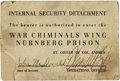 Military & Patriotic:WWII, Nuremberg War Trials: Internal Security Detachment Group Lot, including: an identity card issued to Pfc. John McDonald; what... (Total: 3 Items)