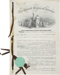 """Autographs:Inventors, Thomas Alva Edison: Patent Signed by S. S. Fisher, Commissioner of Patents. Four pages, 10"""" x 14.25"""", May 17, 1870, Washingt..."""