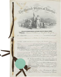 "Thomas Alva Edison: Patent Signed by S. S. Fisher, Commissioner of Patents. Four pages, 10"" x 14.25"", May 17..."