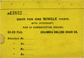 General Historic Events:World Fairs, World's Columbian Exposition: Columbia Rolling Chair Company Ticket....