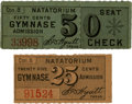 General Historic Events:World Fairs, World's Columbian Exposition: Pair of Rare Gymnase Tickets from the Natatorium....