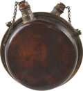 Military & Patriotic:Civil War, Rare, Double-Spout Variant of the Cantel Patent Canteen. This example of Lazare Cantel's leather canteen employs the same pr...