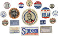 Political:Pinback Buttons (1896-present), Adlai Stevenson: Campaign Stickers, Oversize Campaign Buttons, and Convention Passes, Group of Seventeen. . ... (Total: 17 Items)