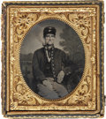 Military & Patriotic:Civil War, 1/6 Plate Civil War Ambrotype Portrait of a Young Federal Soldier Showing Off for the Folks Back Home, Smoking a Pipe. Wears...