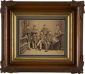 """Military & Patriotic:Civil War, Great Civil War Albumen Image with Period Ink Script Note Accompanying, """"Musicians for Company I 77th Illinois Volunteers"""". ..."""